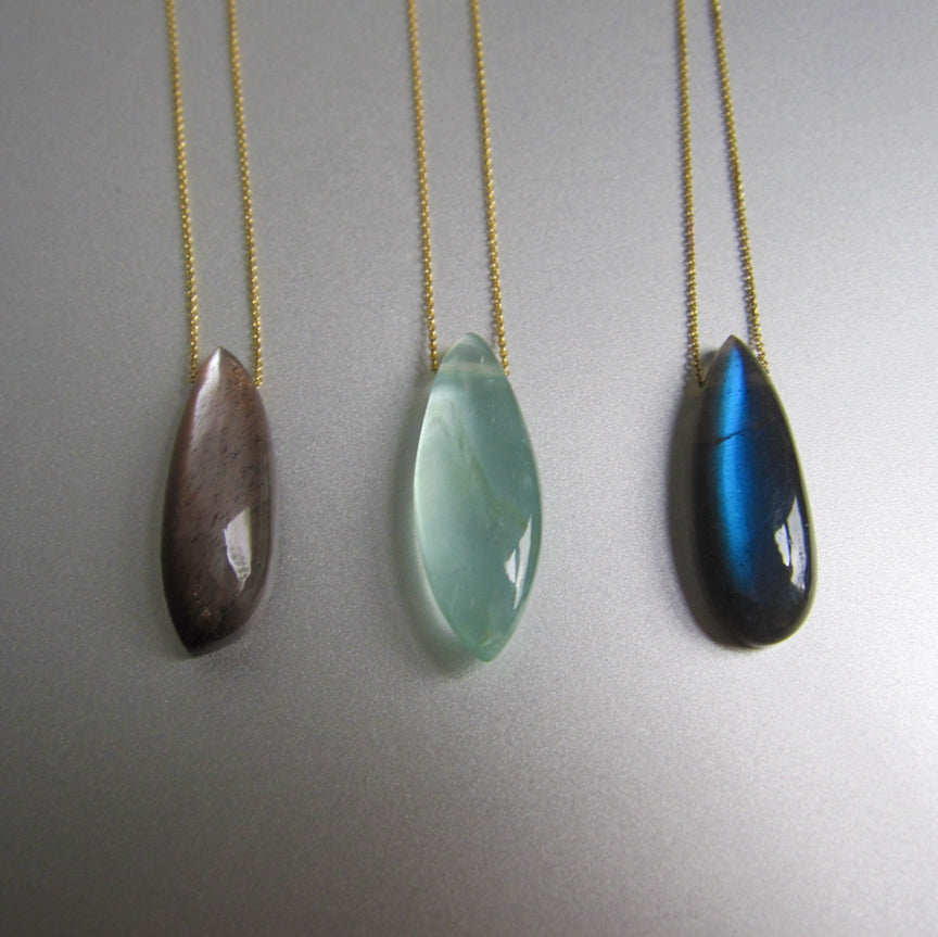 choose your stone choose your metal drop necklace on chain chocolate moonstone labradorite aquamarine2