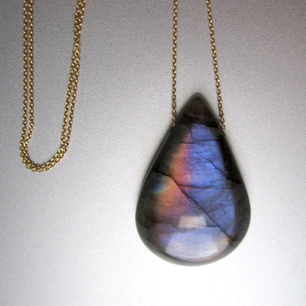 rainbow labradorite drop on 14k gold chain5