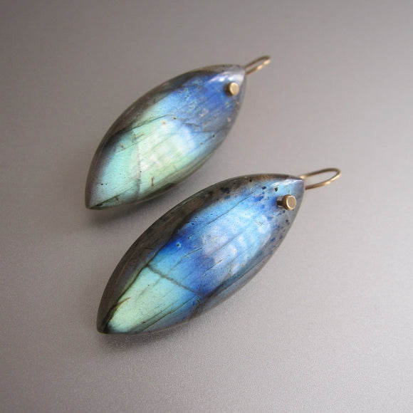 labradorite blue to green thick navette drops solid 14k gold earrings