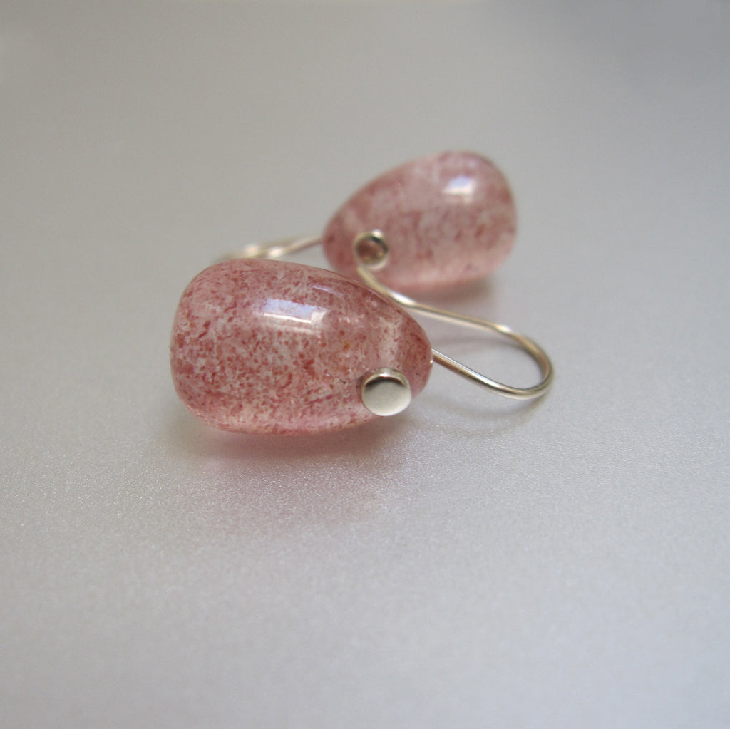 lepidocrocite pink quartz jelly bean drops solid 14k white gold earrings4