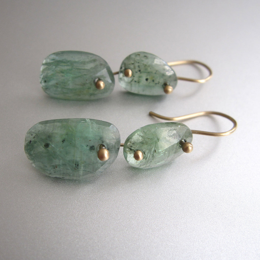 green kyanite double drop solid 14k gold earrings2