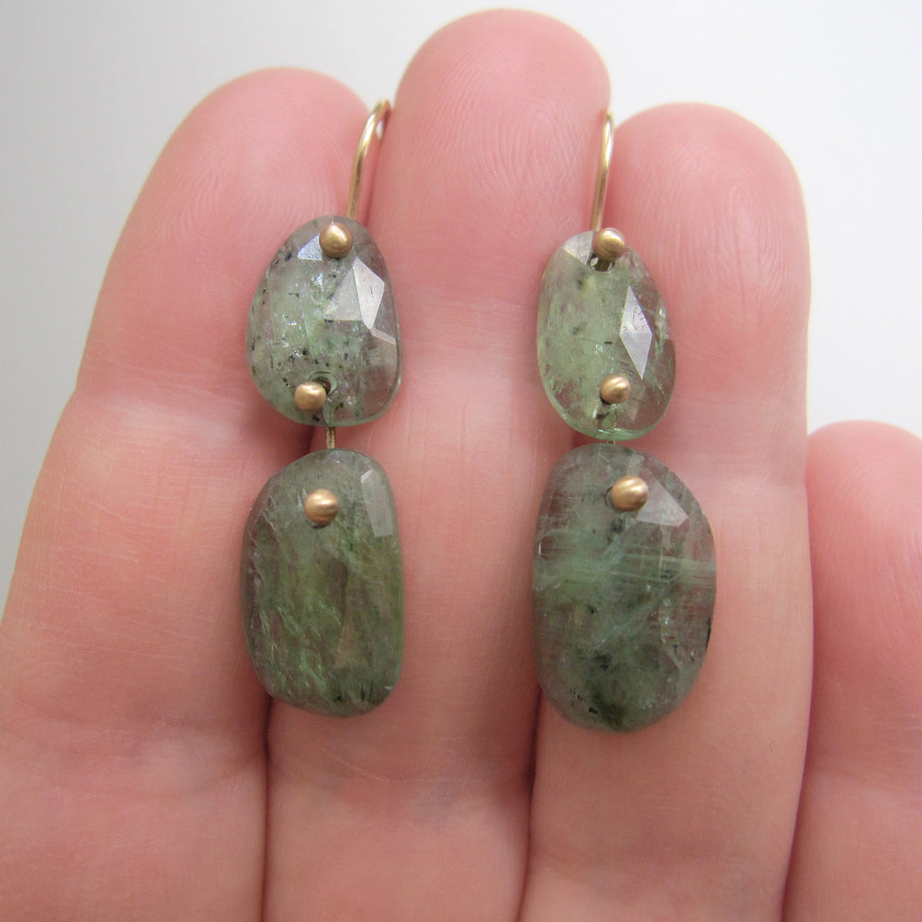 green kyanite double drop solid 14k gold earrings3