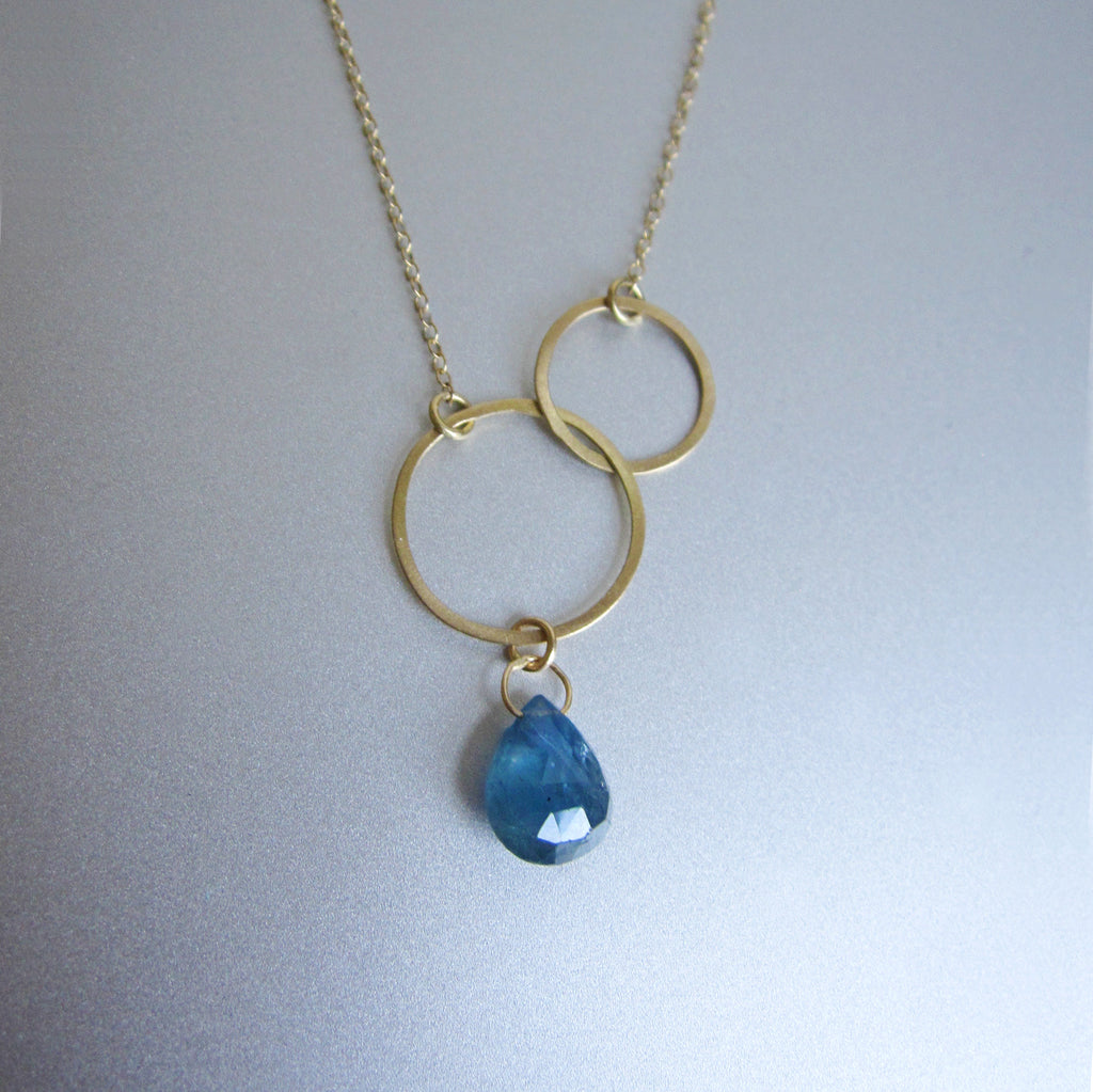 double circle sapphire drop solid 18k gold necklace2