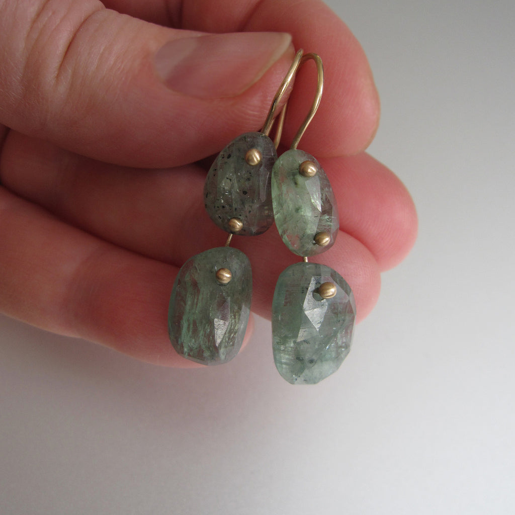 green kyanite double drop solid 14k gold earrings4