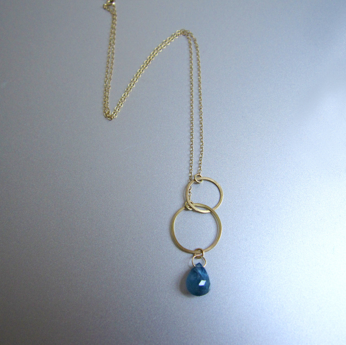 double circle sapphire drop solid 18k gold necklace