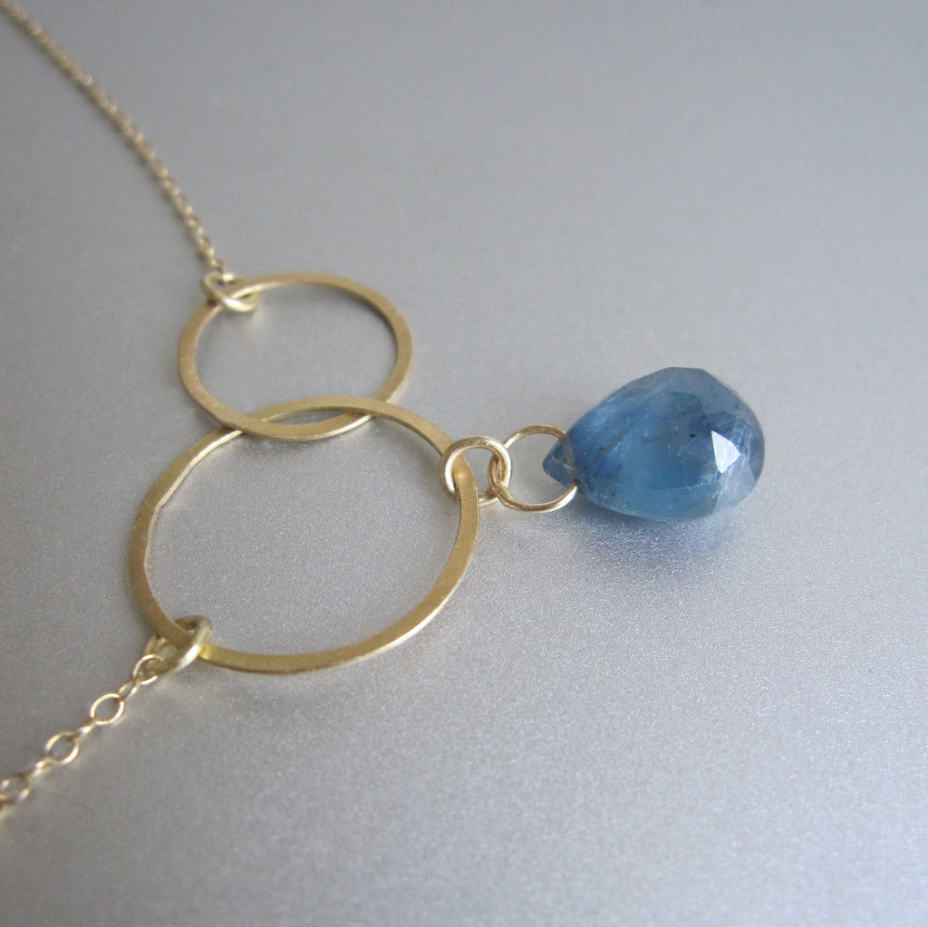 double circle sapphire drop solid 18k gold necklace3