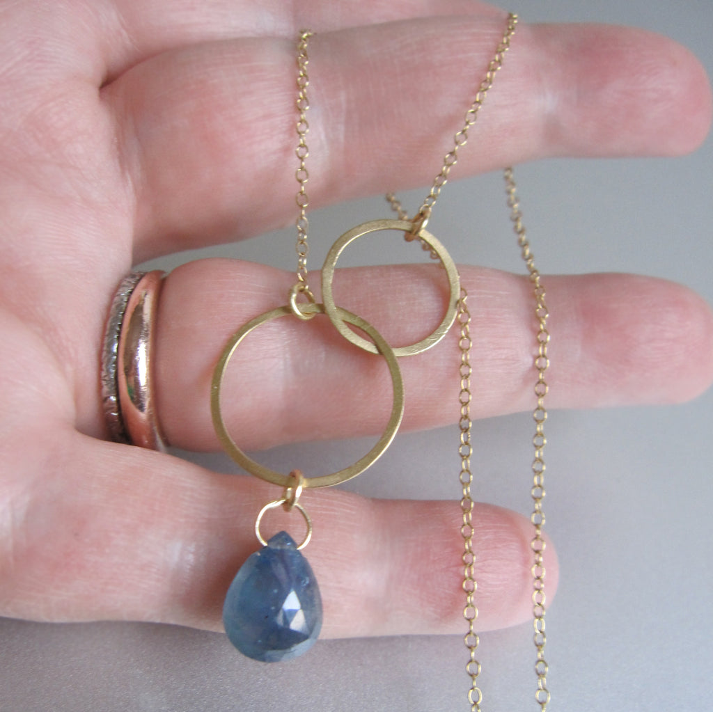 double circle sapphire drop solid 18k gold necklace4