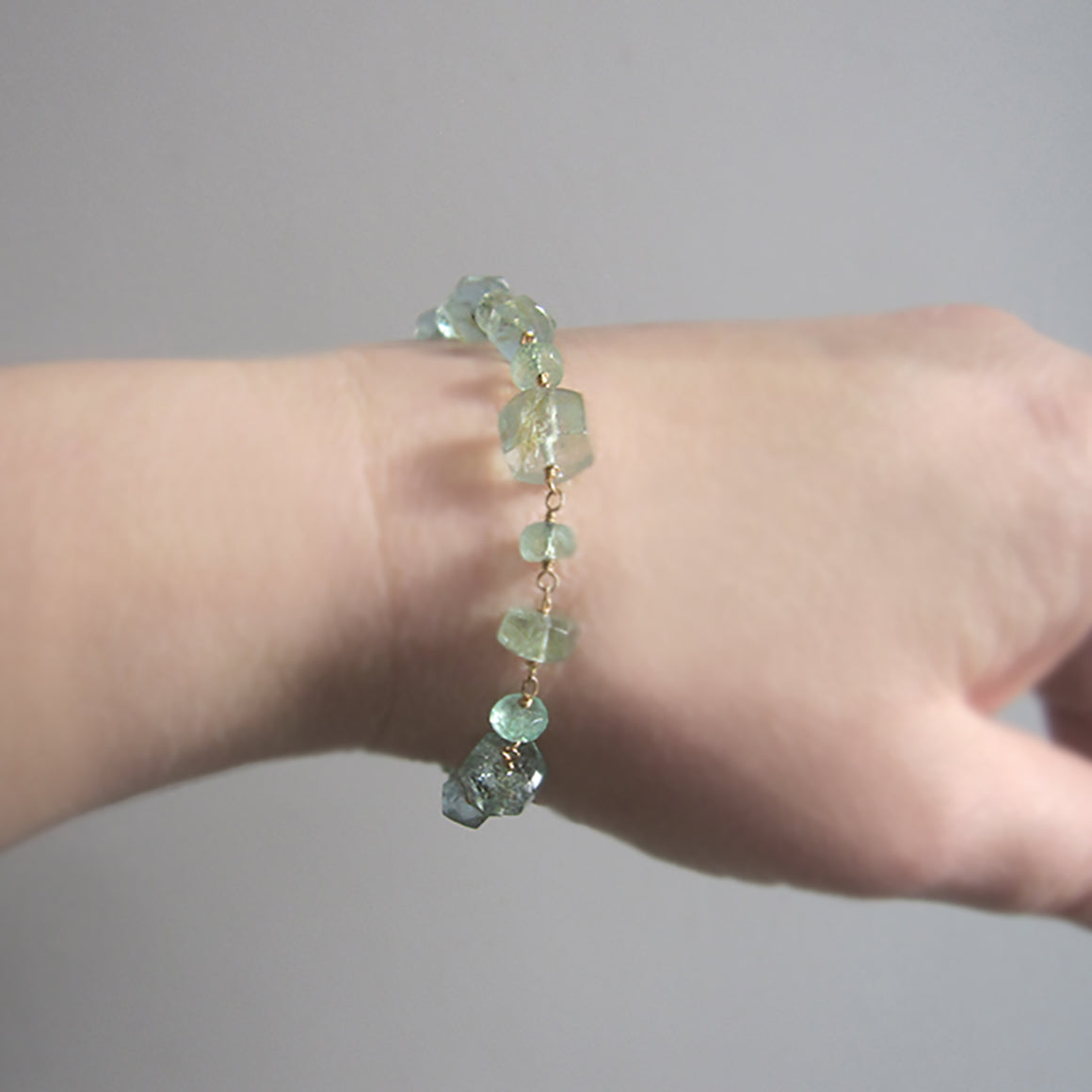 emerald and moss aquamarine solid 14k gold bracelet