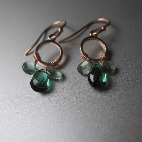 green tourmaline chandelier earrings solid 14k rose gold earrings3
