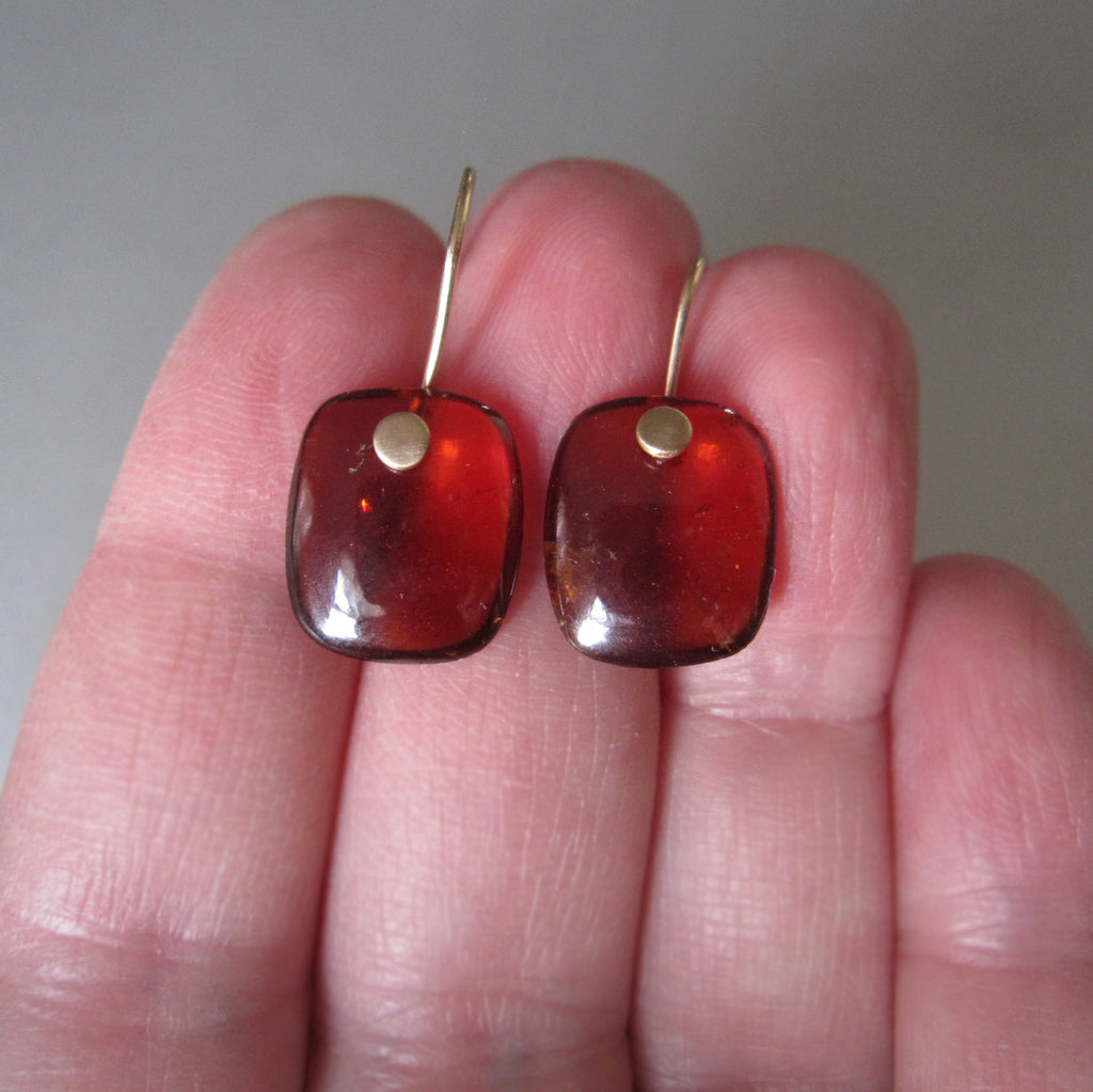 reddish brown hessonite garnet cushion drops solid 14k gold earrings