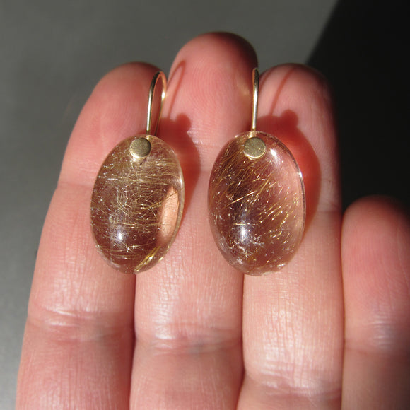 large golden rutilated smooth oval drops solid 14k gold earrings