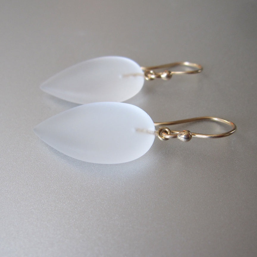 frosted quartz pointed drops solid 14k gold earrings2