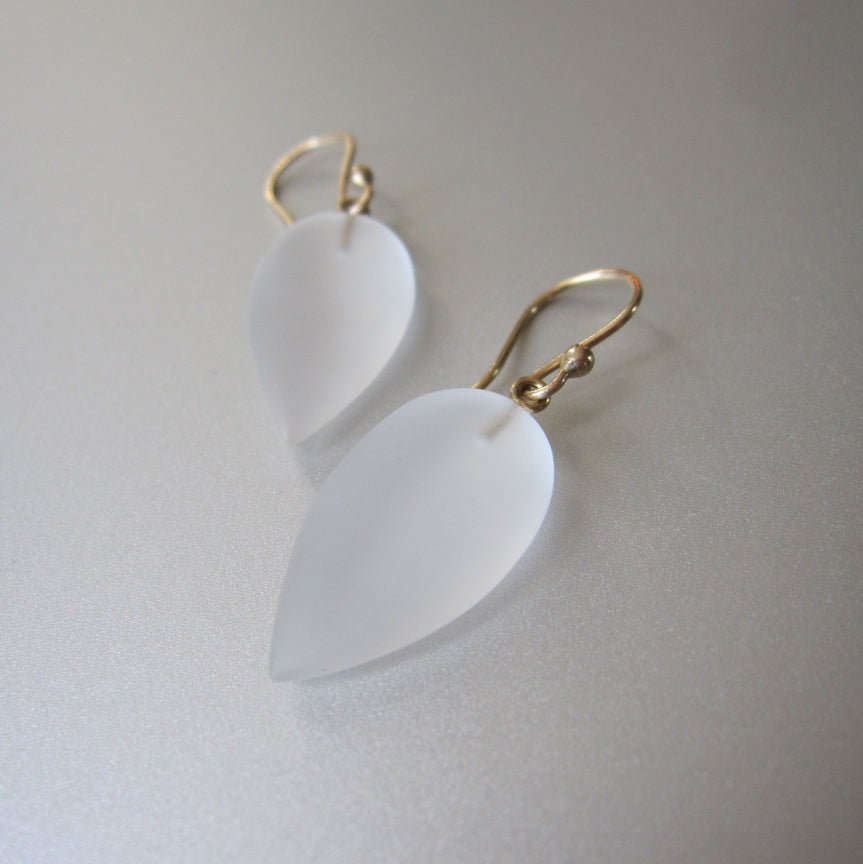 frosted quartz pointed drops solid 14k gold earrings4