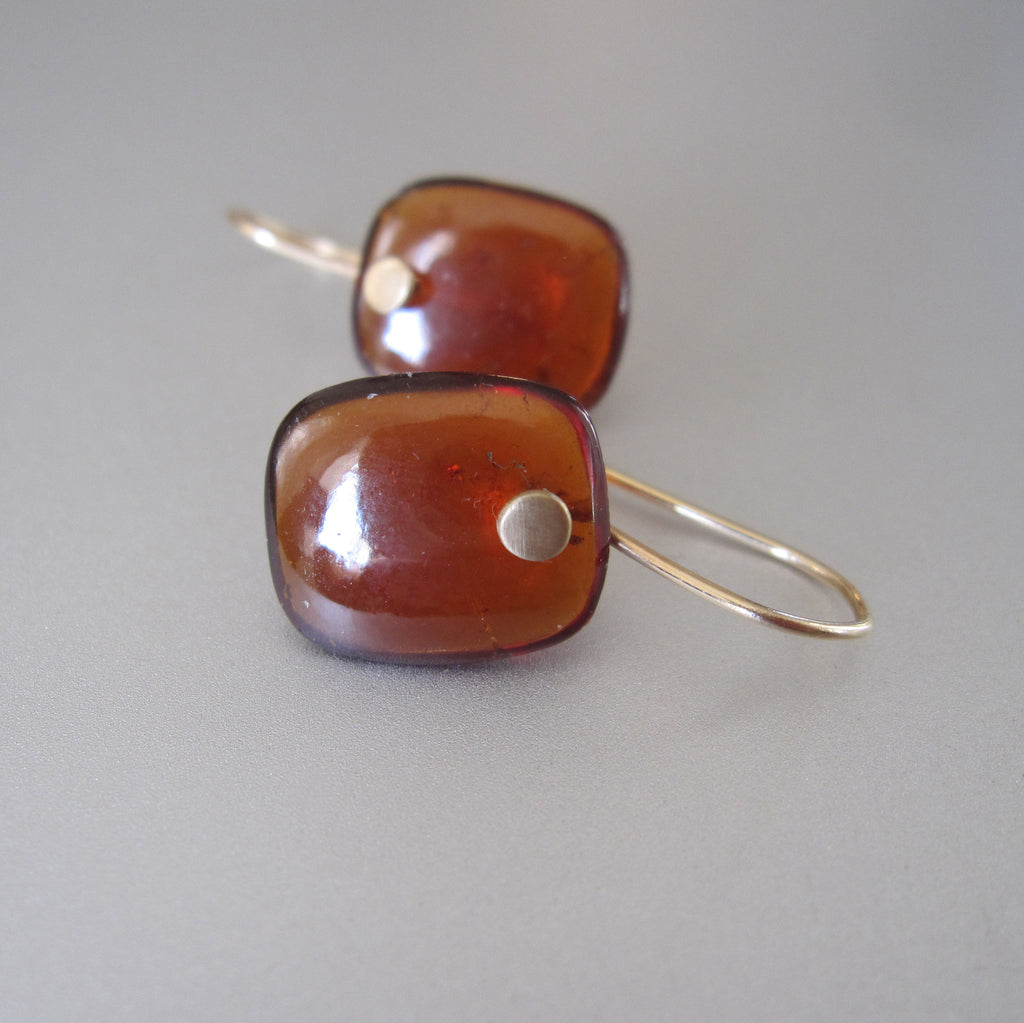 reddish brown hessonite garnet cushion drops solid 14k gold earrings5