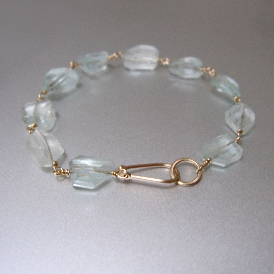 Nugget Light Blue Aquamarine Solid 14k Gold Hook Bracelet