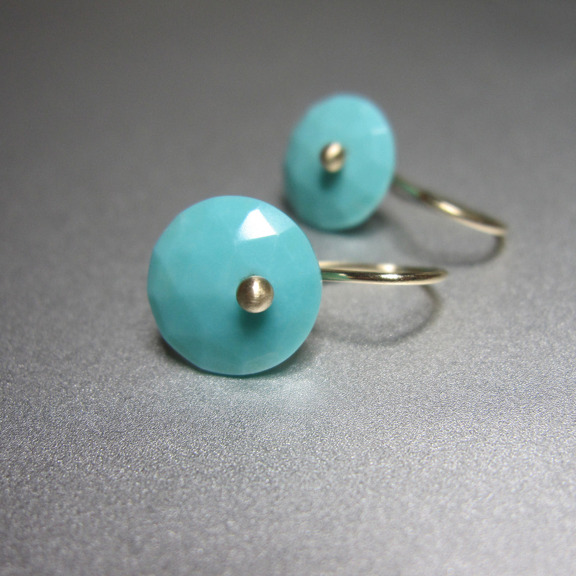 small rose cut turquoise button solid 14k gold earrings