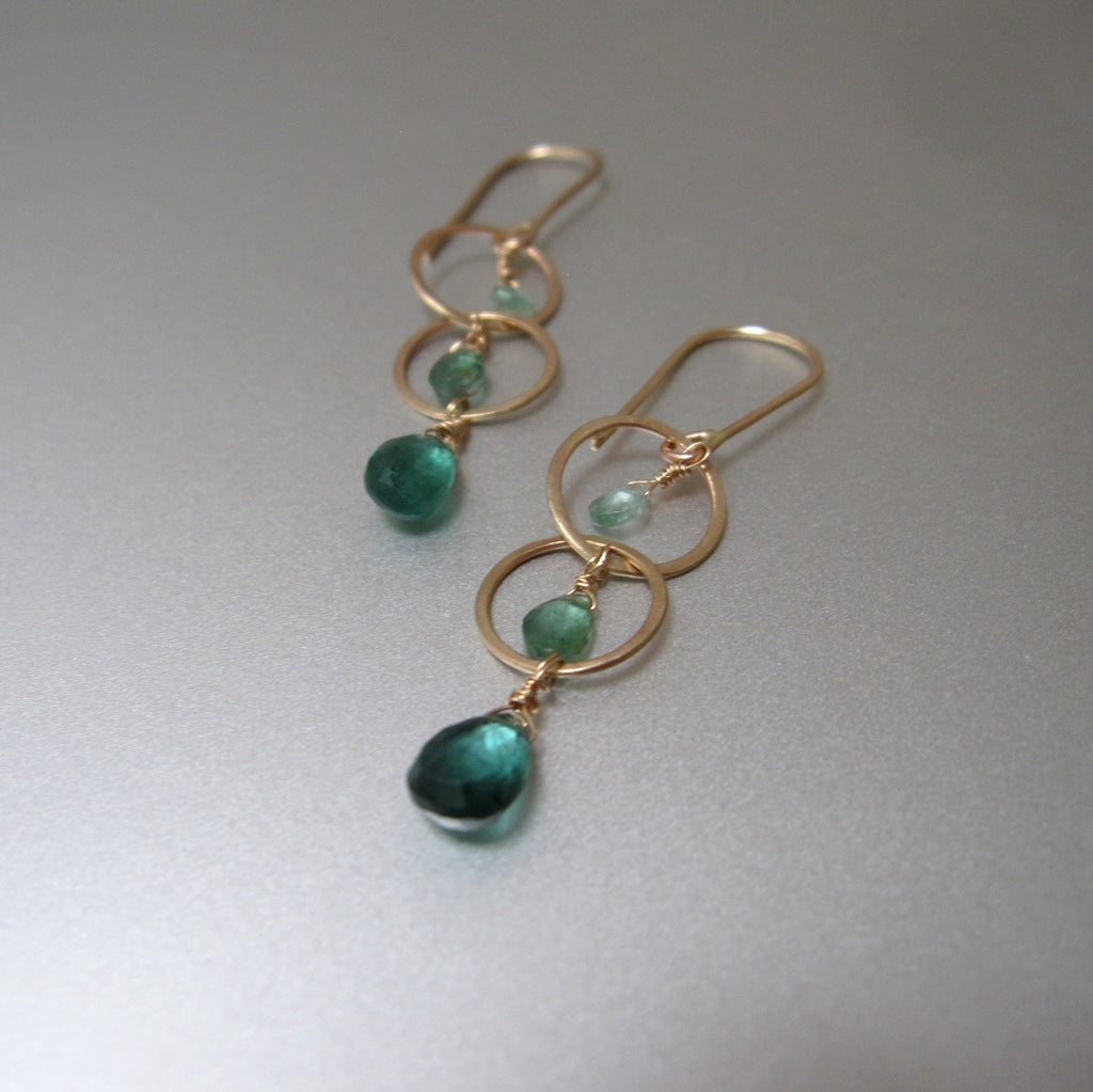 long ombre green tourmaline hammered circle link drops solid 14k gold earrings2