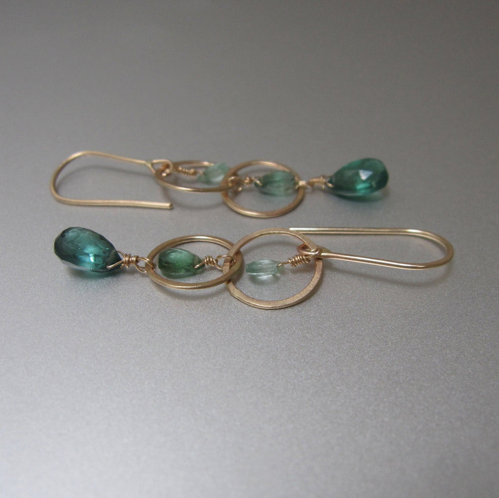 long ombre green tourmaline hammered circle link drops solid 14k gold earrings3