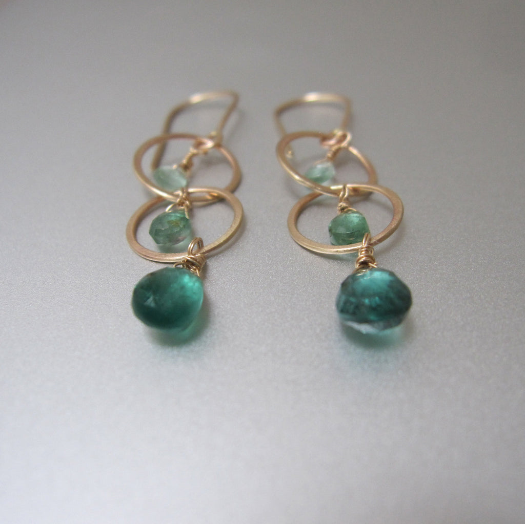 long ombre green tourmaline hammered circle link drops solid 14k gold earrings4