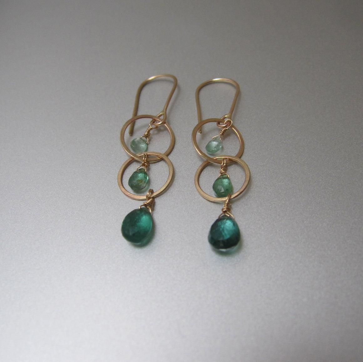 long ombre green tourmaline hammered circle link drops solid 14k gold earrings