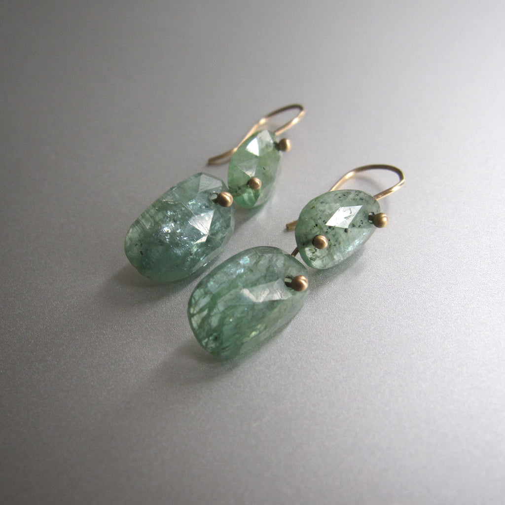 green kyanite double drop solid 14k gold earrings