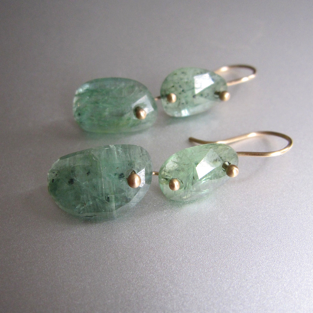 green kyanite double drop solid 14k gold earrings6