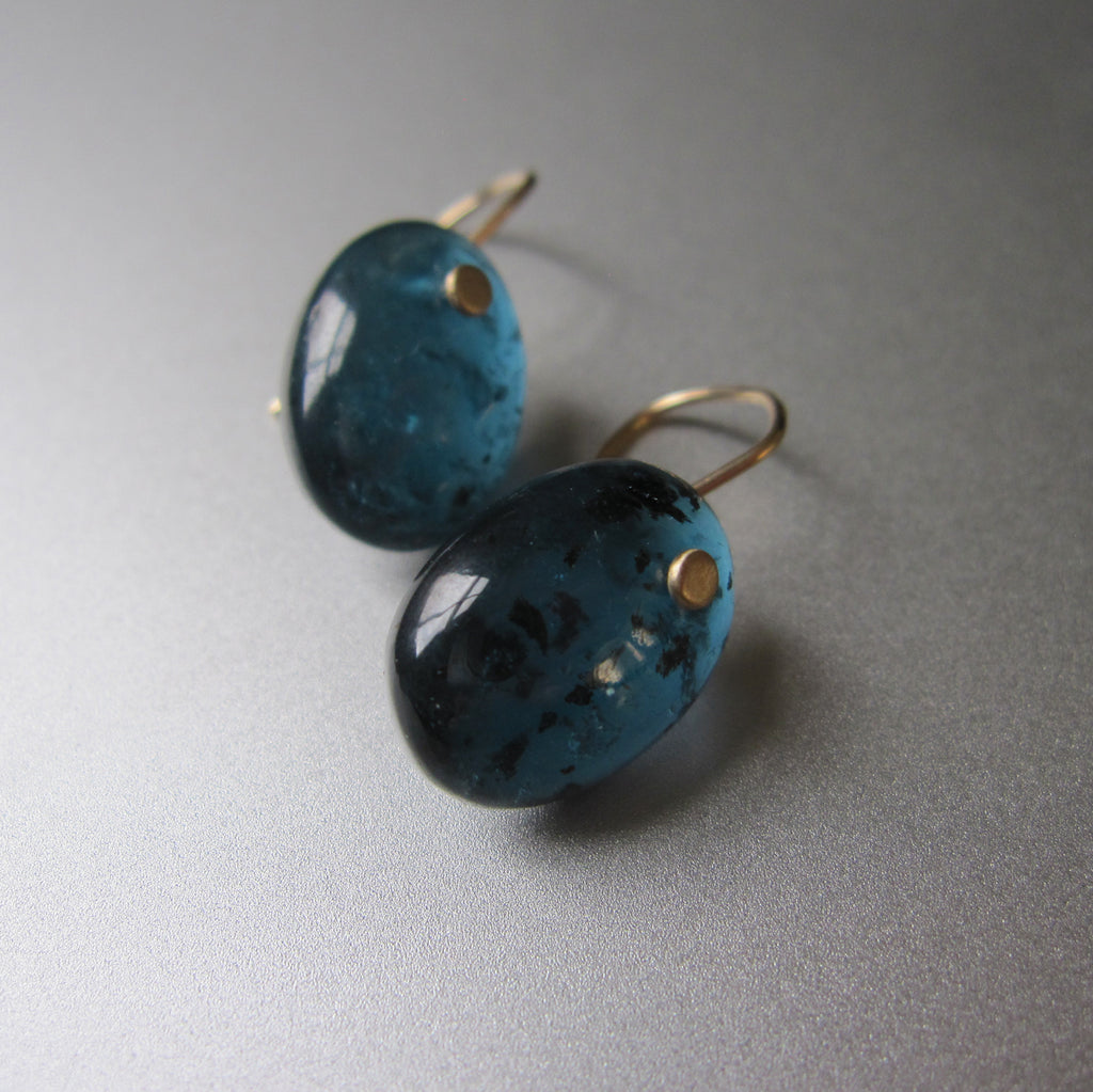 dark blue green kyanite oval drops solid 14k gold earrings4