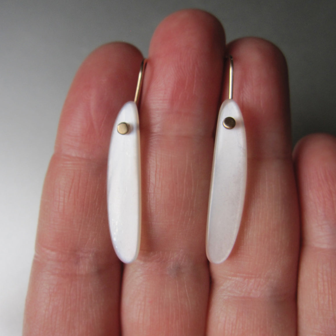 long curved white moonstone drops solid 14k gold earrings
