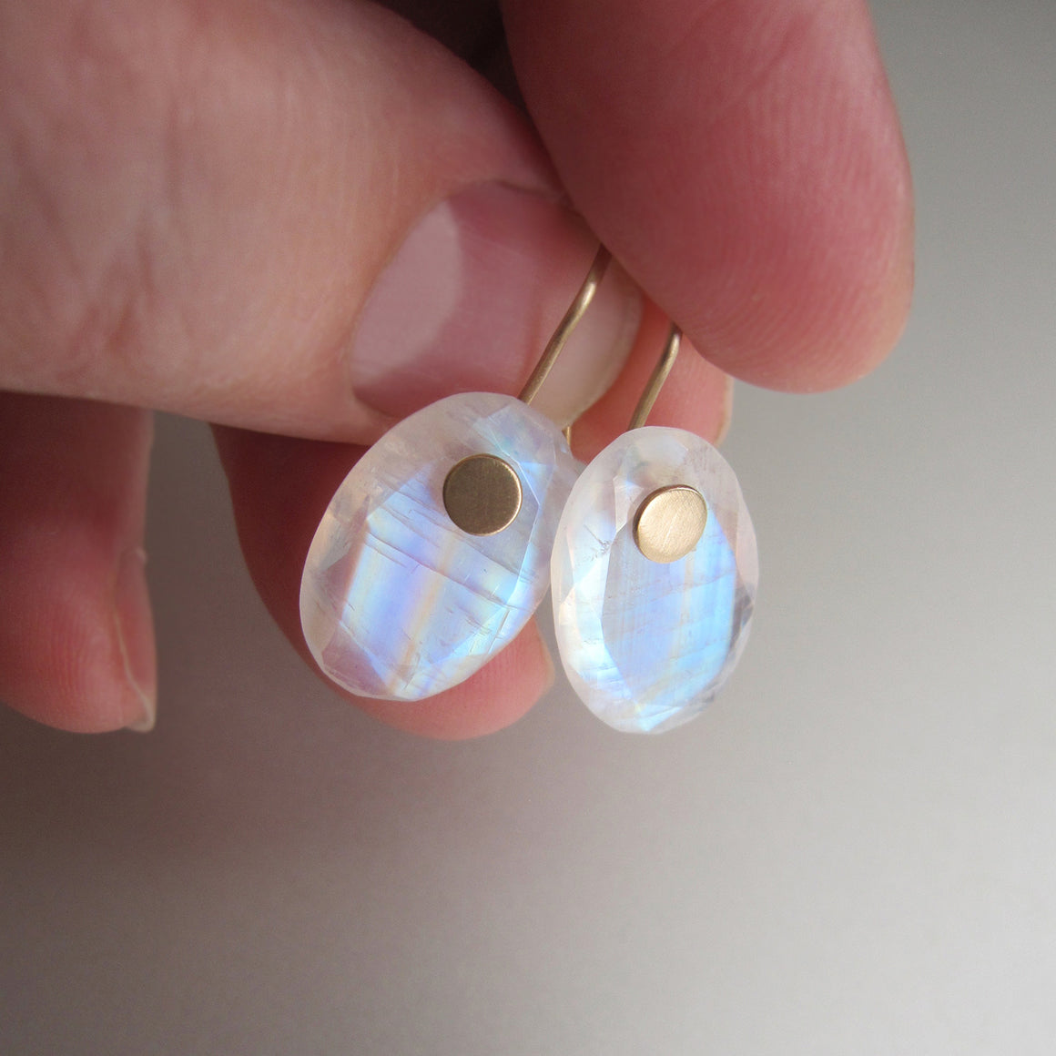 rainbow moonstone edge faceted oval drops solid 14k gold earrings