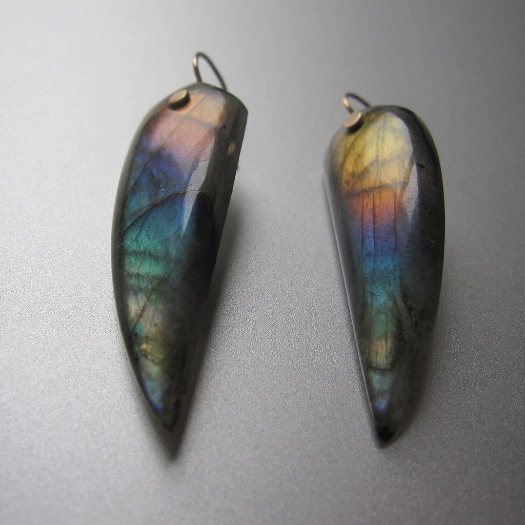 rainbow labradorite pointed drops solid 14k gold earrings4