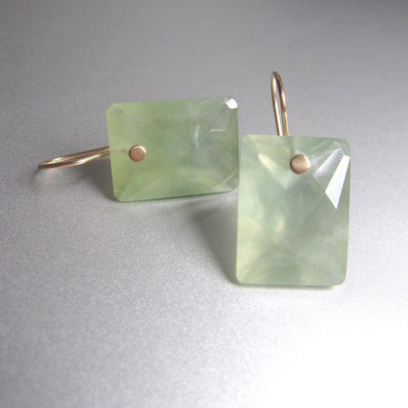 prehnite large ring cut cushion drops solid 14k gold earrings