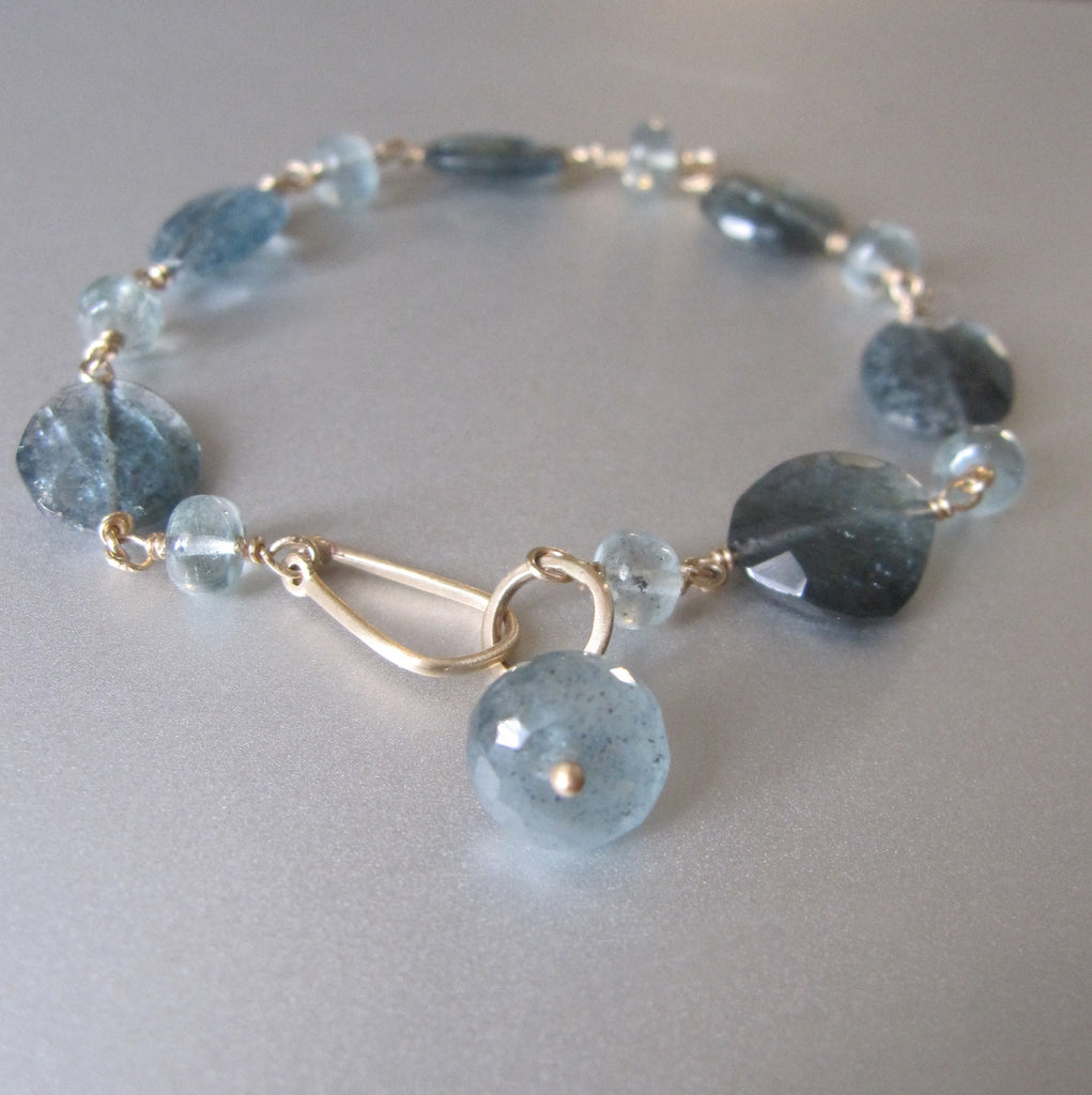 moss aquamarine solid 14k gold beaded bracelet