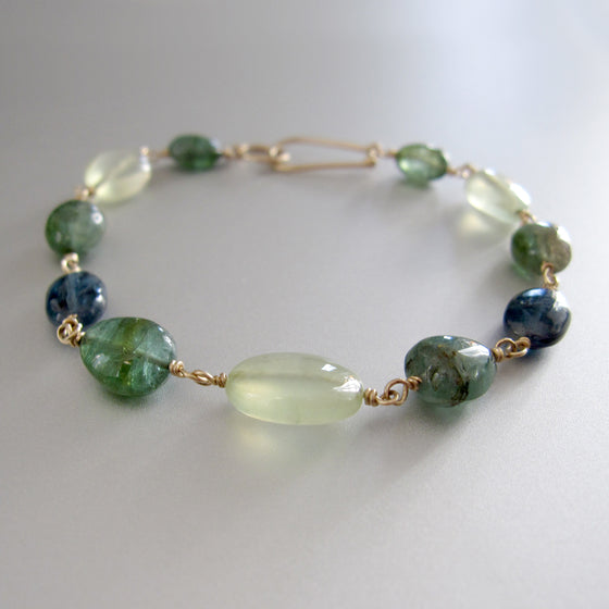 Green Tourmaline Prehnite Kyanite Solid 14k Gold Bracelet