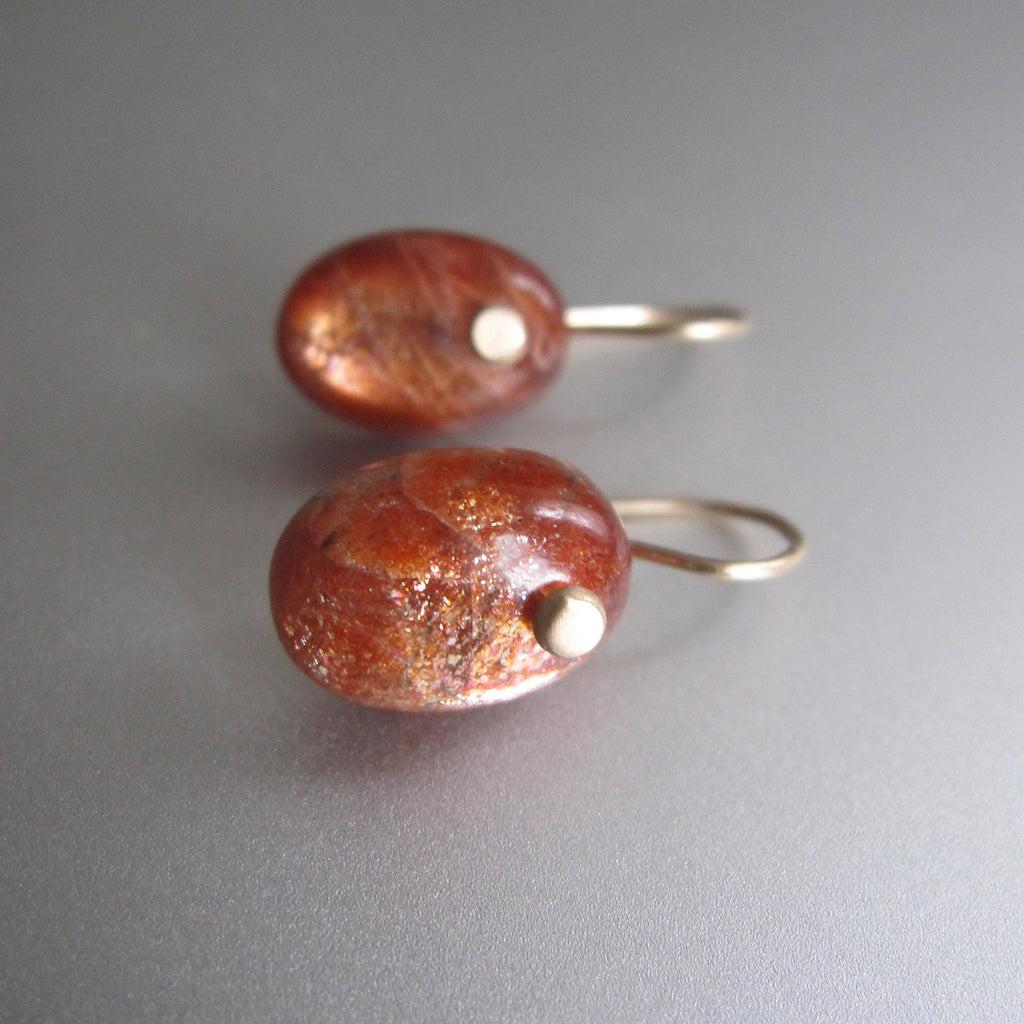 sunstone oval drop solid 14k gold earrings4