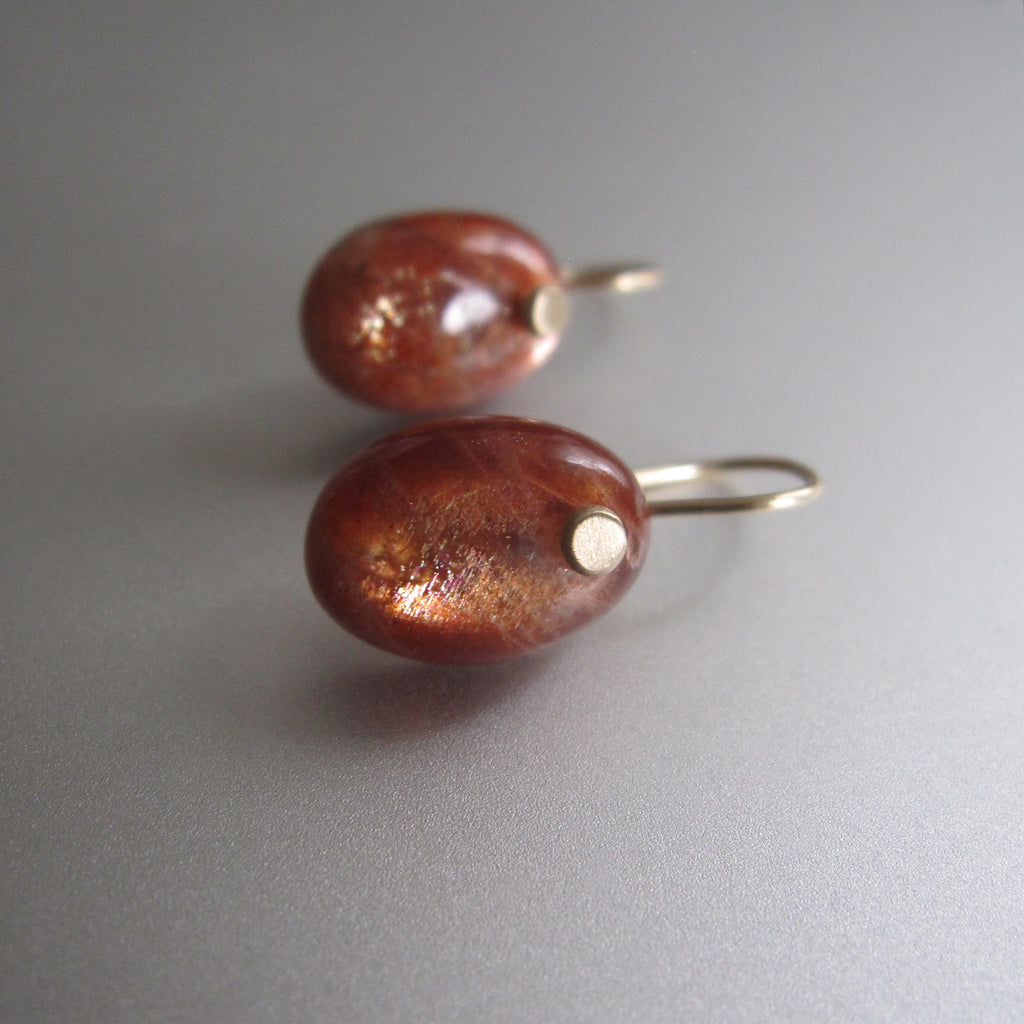 sunstone oval drop solid 14k gold earrings5
