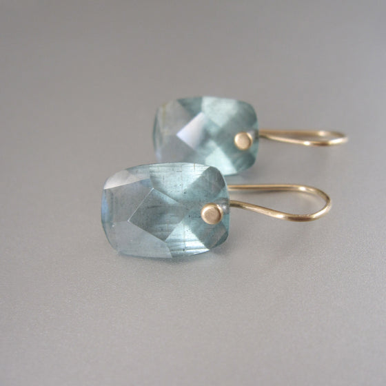 cushion cut moss aquamarine drops solid 14k gold earrings