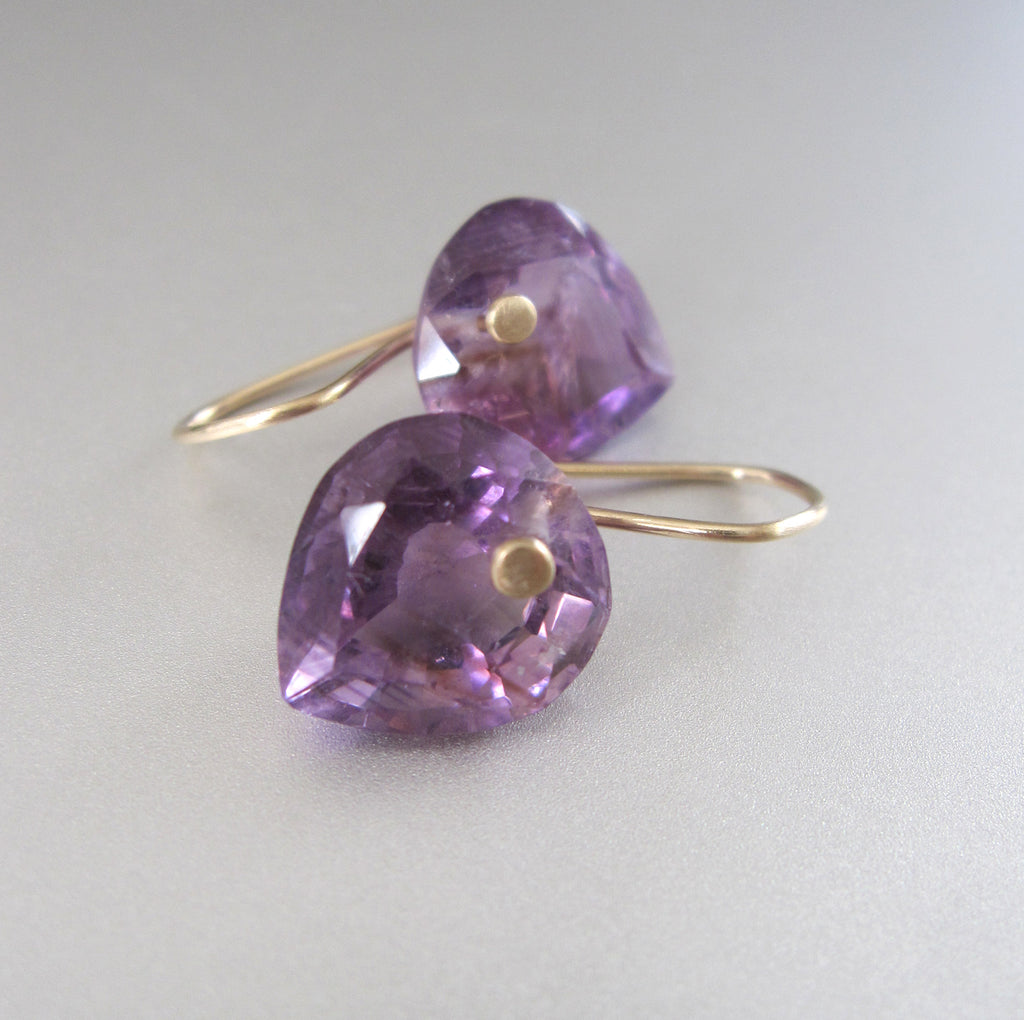 ring cut amethyst heart drops solid 14k gold earrings