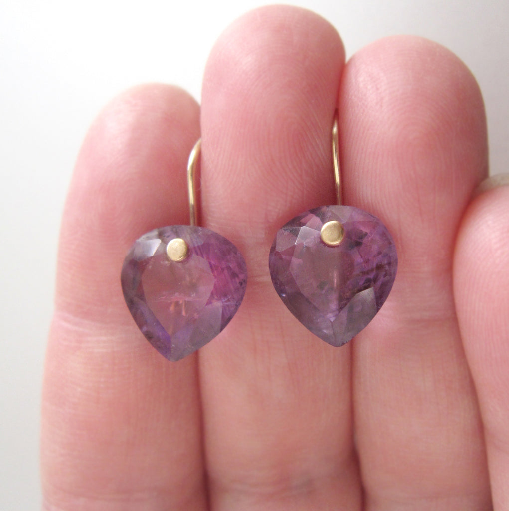 ring cut amethyst heart drops solid 14k gold earrings5