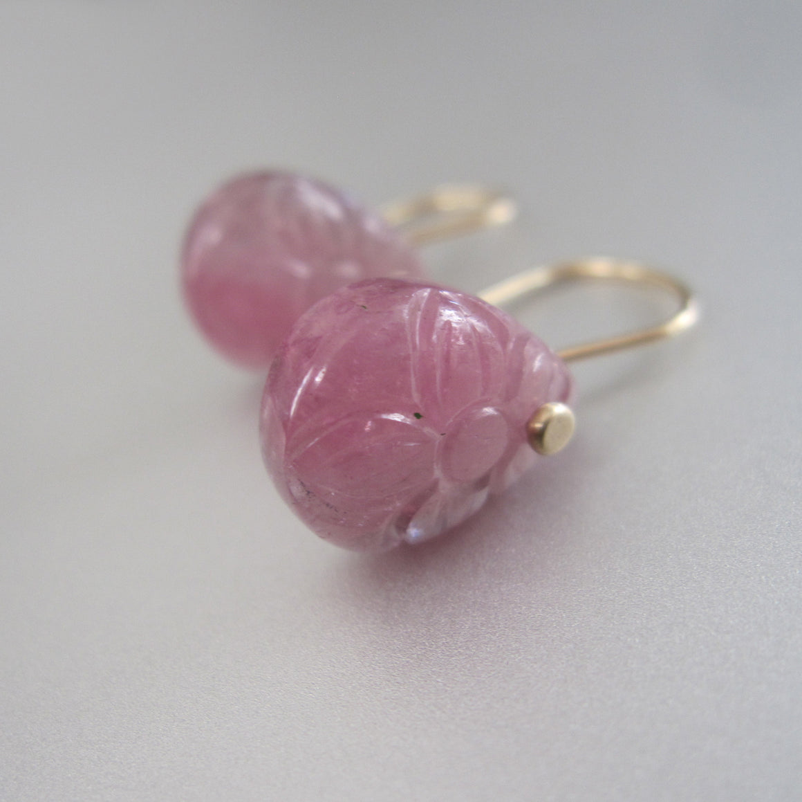 Pink Tourmaline Carved Floral Drops Solid 14k Gold Earrings