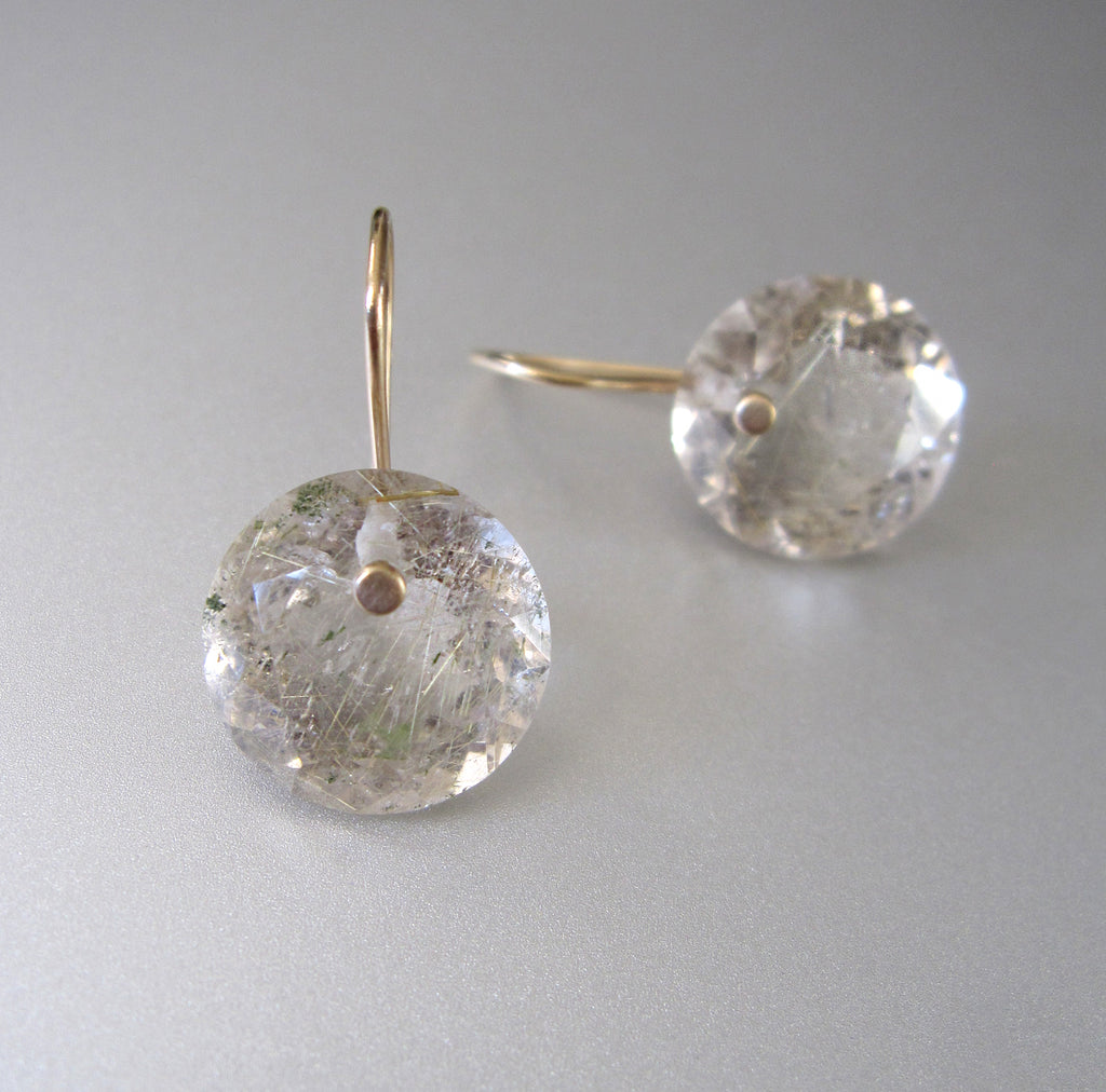 Golden Rutilated Quartz Round Faceted Drops Solid 14k Gold 4
