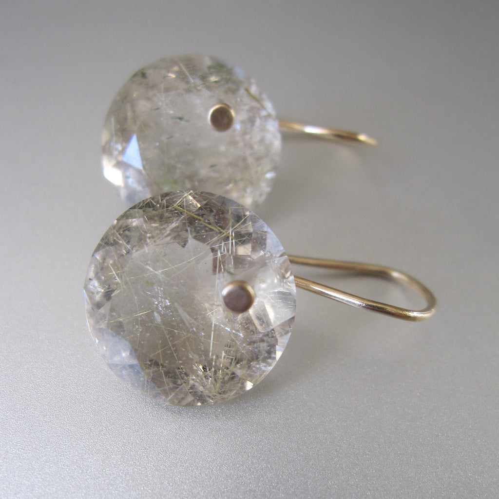 Golden Rutilated Quartz Round Faceted Drops Solid 14k Gold 3