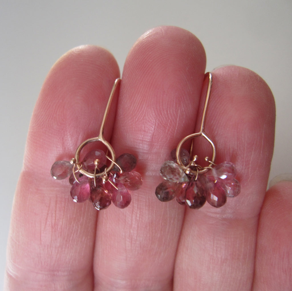 pink tourmaline cluster drops solid 14k rose gold earrings6