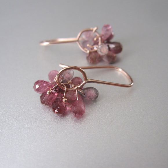 pink tourmaline cluster drops solid 14k rose gold earrings