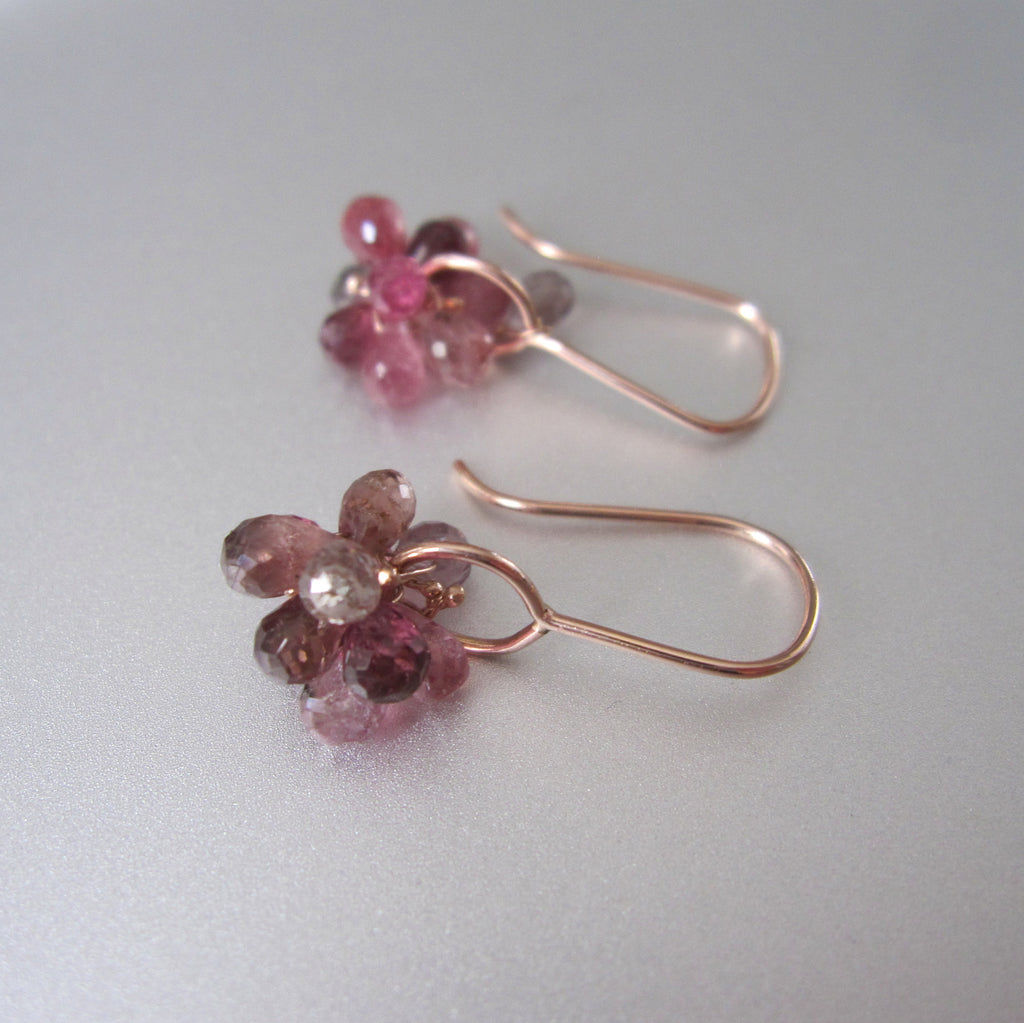 pink tourmaline cluster drops solid 14k rose gold earrings3