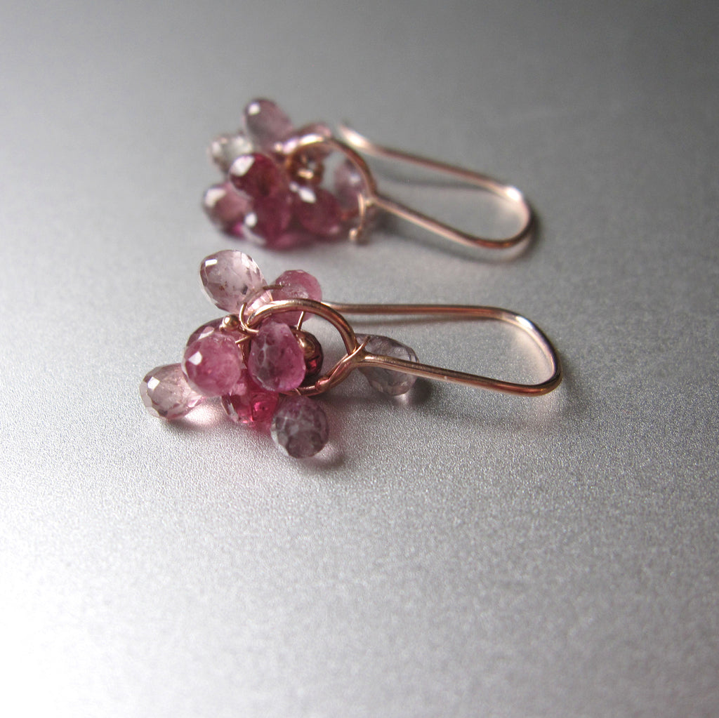 pink tourmaline cluster drops solid 14k rose gold earrings4