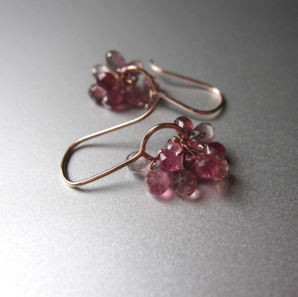 pink tourmaline cluster drops solid 14k rose gold earrings5