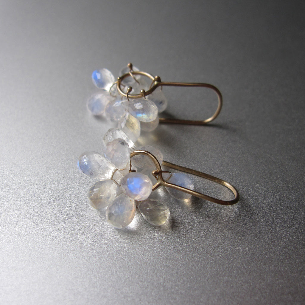 rainbow moonstone briolette clusters solid 14k gold earrings4