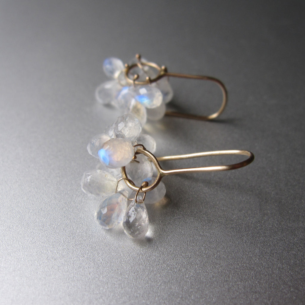 rainbow moonstone briolette clusters solid 14k gold earrings5