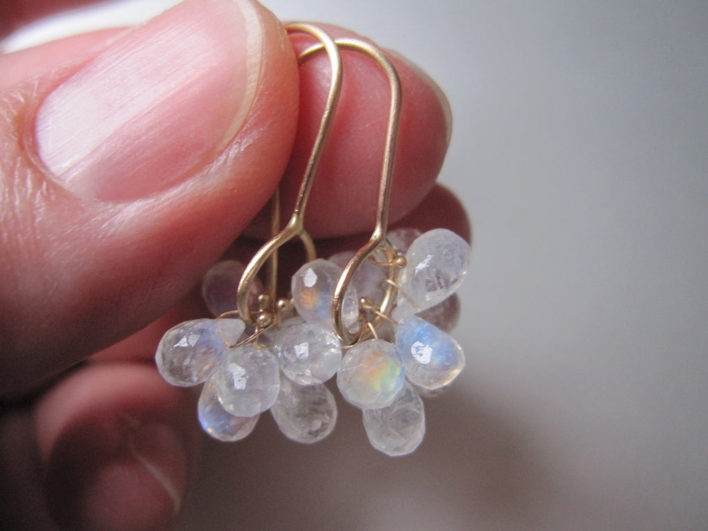 rainbow moonstone briolette clusters solid 14k gold earrings7