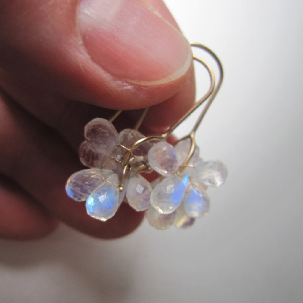 rainbow moonstone briolette clusters solid 14k gold earrings9